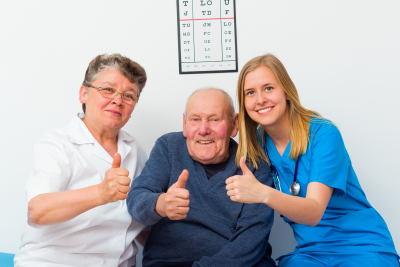 Thumbs up for elderly homecare from senior patient